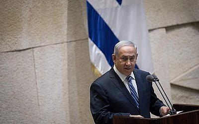 Le Premier ministre Benjamin Netanyahu à la Knesset, à Jérusalem, le 31 janvier 2018. (Hadas Parush/Flash90)