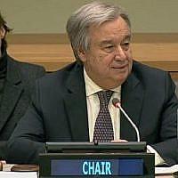 Le chef de l'ONU Antonio Guterres prononce un discours lors de la séance d'ouverture annuelle du comité de décolonisation, auquel la Syrie a été élue le 22 février 2018. (Capture d'écran: UN Web TV)