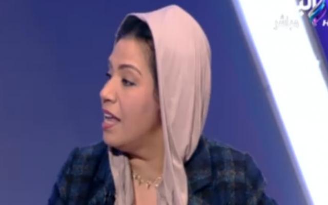 La députée égyptienne Nawshi al-Dabi, à la télévision égyptienne, le 3 janvier 2018. (Crédit : capture d'écran MEMRI)