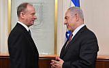 Le secrétaire du conseil de sécurité de la fédération russe Nikolai Patrushev, à gauche, rencontre le Premier ministre Benjamin Netanyahu au bureau du Premier ministre de Jérusalem, le 1er février 2018 (Crédit : Kobi Gideon/GPO)