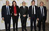 Gala de l'AUJF, de gauche à droite, David de Rothschild, S.E. Aliza Bin-Noun, Ariel Goldmann, Nicolas Sarkozy, Pierre Besnainou. Paris le 15 février 2018. (Crédit : Ludovic Boulnois autorisation AUJF)