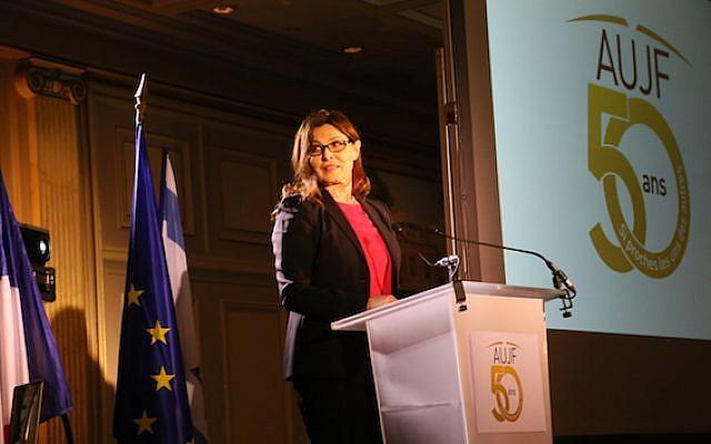 Gala du cinquantenaire de l'AUJF,  S.E. Aliza Bin-Noun, ambassadrice d'Israël en France. Paris le 15 février 2018. (Crédit : Ludovic Boulnois autorisation AUJF)