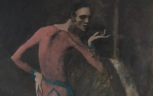 Capture d'écran d'une vidéo montrant en détail la peinture de Pablo Picasso « L'acteur » (Crédit : Youtube)