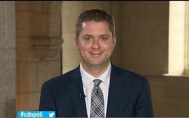 Le chef de l'opposition canadienne, le conservateur Andrew Scheer, le 18 septembre 2018 (Capture d'écran : YouTube)