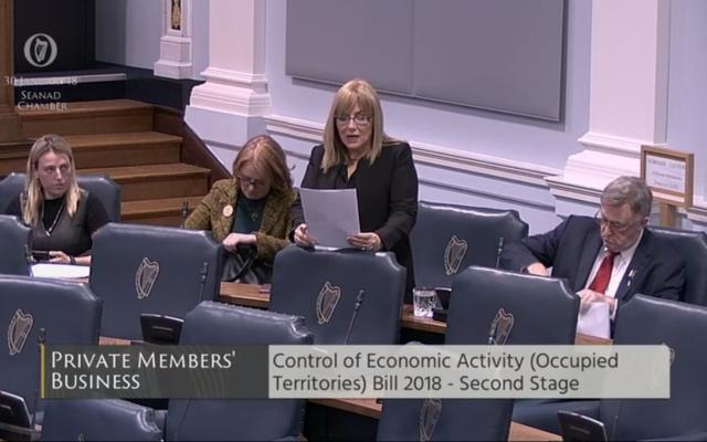 La sénatrice irlandaise Frances Black prend la parole avant le vote du Sénat sur la proposition de loi 2018 le 30 janvier 2018 sur le contrôle des activités économiques (des Territoires occupés) (Crédit : Capture d'écran www.oireachtas.ie)