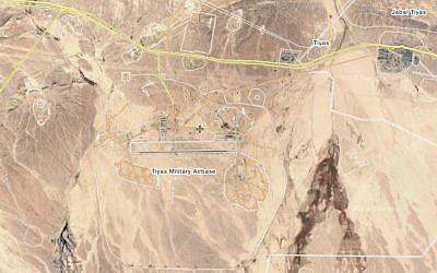 La base aérienne des Tiyas, ou T-4, Air Base, aux abords de la ville syrienne de Palmyre, qui, selon Israël, serait activée par l'Iran et sa force al-Quds (Capture d'écran : Wikimapia)