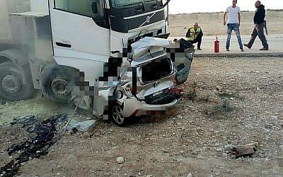 Collision mortelle sur la Route 90, près du carrefour Beit Ha'arava . (Crédit : Magen David Adom)