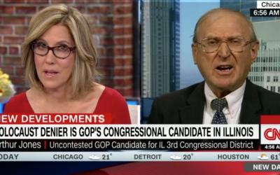 Arthur Jones, leader néo-nazi et candidat au Congrès (à droite), apparaît dans l'émission New Day de CNN, le 7 février 2018 (Capture d'écran)