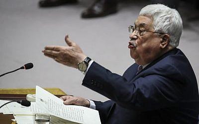 Le dirigeant de l'AP, Mahmoud Abbas, s'exprime lors d'une réunion du Conseil de sécurité des Nations unies concernant les problèmes au Moyen-Orient, au siège de l'ONU, le 20 février 2018, à New York (Drew Angerer / Getty Images / AFP)