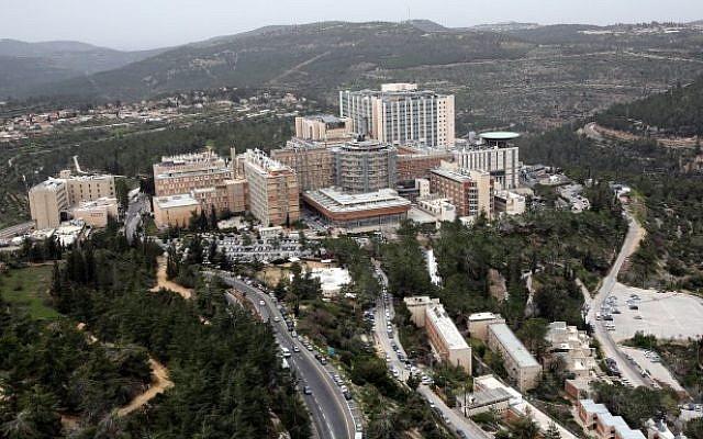 Vue aérienne de l'hôpital Hadassah Ein Kerem, Jérusalem, 17 mars 2014. (Yossi Zamir/Flash 90)