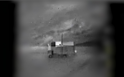 Le centre de commandement mobile d'où, selon Israël, un drone iranien aurait été activé depuis la Syrie avant de pénétrer dans l'espace aérien israélien, le 10 février 2018 (Crédit : Armée israélienne)