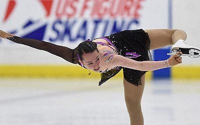 Aimee Buchanan, d'Israël, participe au programme court féminin aux Classiques internationales de patinage artistique des États-Unis, le deuxième jour, au complexe sportif de Salt Lake City, le 16 septembre 2016 à Salt Lake City, en Utah (Crédit : Gene Sweeney Jr./Getty Images)
