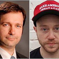 Jay Wolman, à gauche, défend Andrew Anglin, à droite, fondateur du site antisémite Daily Stormer. (Groupe juridique Randazza/Wikimedia Commons via JTA)