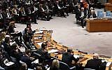Le président de l'Autorité palestinienne Mahmoud Abbas (D) s'adresse au Conseil de sécurité des Nations Unies, le 20 février 2018. (AFP Photo/Timothy A. Clary)