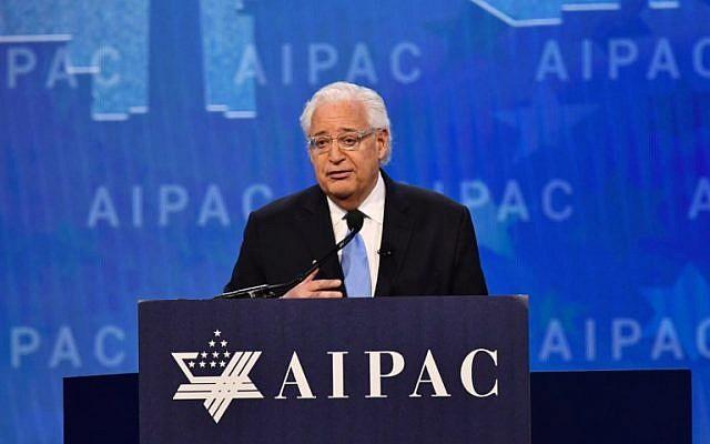 L'ambassadeur des Etats-Unis en Israël, David Friedman, s'adresse à la conférence politique du Comité des Affaires Publiques d'Israël (AIPAC) le 6 mars 2018. (AFP PHOTO / Nicholas Kamm)