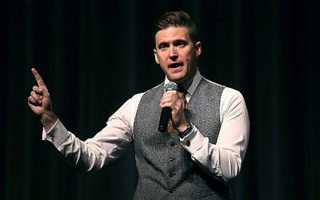 Le nationaliste blanc Richard Spencer parle au Curtis M. Phillips Center for the Performing Arts le 19 octobre 2017, à Gainesville, en Floride. (Joe Raedle/Getty Images/AFP)
