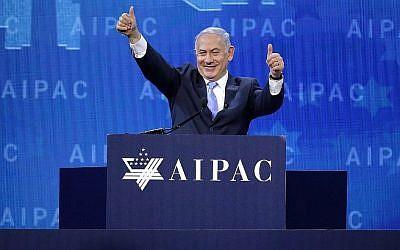 Benjamin Netanyahu à la conférence de politique de l'AIPAC à Washington, DC, le 6 mars 2018 (Crédit : Chip Somodevilla/Getty Images/AFP)