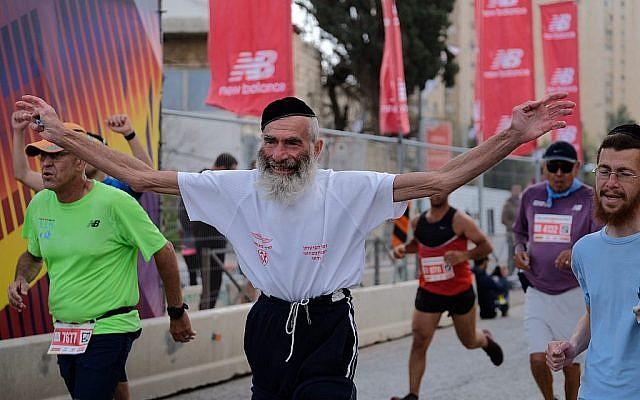 Les coureurs participent au marathon international de Jérusalem le 9 mars 2018 (Crédit : Flash90 via la municipalité de Jérusalem)