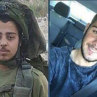 Le sergent Netanel Kahalani, à gauche, et le capitaine Ziv Daos, à droite, sont les soldats tués dans une attaque terroriste présumée le 16 mars 2018. (Courtoisie)