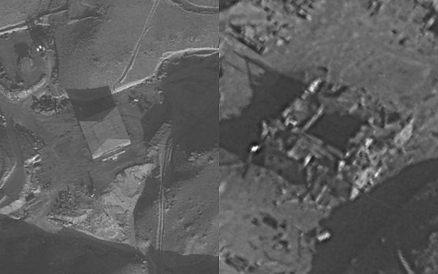 Le réacteur nucléaire syrien al-Kibar avant, à gauche, et après, à droite, avoir été détruit par Israël, le 6 septembre 2007. (Tsahal)