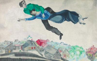 Marc Chagall et Bella Rosenfeld-Chagall, dans 'Au-dessus de la ville' (Crédit : © Adagp, Paris 2017/Site Centre Pompidou)