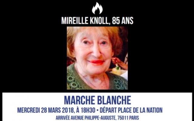 Rassemblement pour Mireille Knoll le 28 mars 2018 à 18H30 sur la place de la Nation (Crédit : Twitter/Crif)