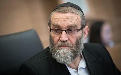Moshe Gafni, membre du Yahadout HaTorah, préside la commssion des Finances de la Knesset le 5 mars 2018 (Crédit : Yonatan Sindel / Flash90)