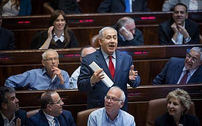 Le Premier ministre Benjamin Netanyahu lors d'une session plénière à la Knesset, le 13 mars 2018 (Hadas Parush / Flash90)
