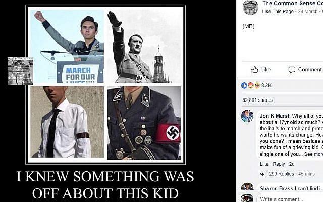 Capture d'écran de la page Facebook 'The Common Sense Conservative.' (Capture d'écran : Facebook)