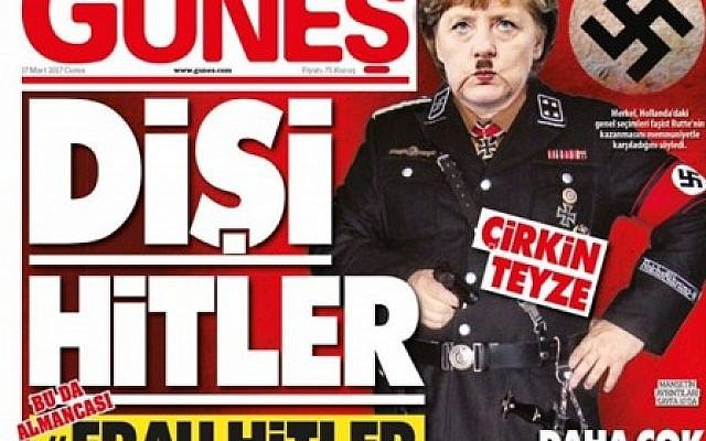"""La une du quotidien turc pro-gouvernemental """"Günes"""" présente un photomontage de la chancelière allemande Angela Merkel en uniforme nazi, le 17 mars 2017. (Capture d'écran Twitter)"""
