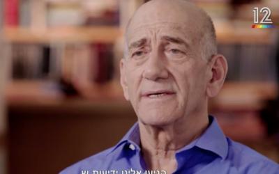 L'ancien Premier ministre Ehud Olmert lors d'une interview de la chaine Keshet TV diffusée le 17 mars 2018 (capture d'écran de Keshet)