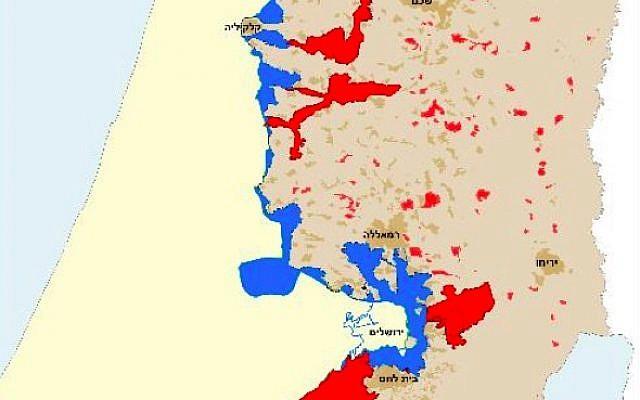 Une carte montrant les frontières d'une solution à deux états si elle se basait sur le parcours de la barrière de sécurité israélienne. Les marques bleues signalent les parties de la Cisjordanie qui seraient annexées par Israël sur la base des longueurs actuelles de la frontières et les marques rouges montrent les parties qui seraient aussi ajoutées après l'achèvement de la barrière (Crédit : La Paix maintenant)