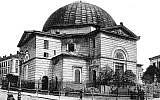 Une photo de la synagogue du temple à Lviv, en Ukraine au début du 20ème siècle (Crédit : CC BY-SA Wikimedia Commons)