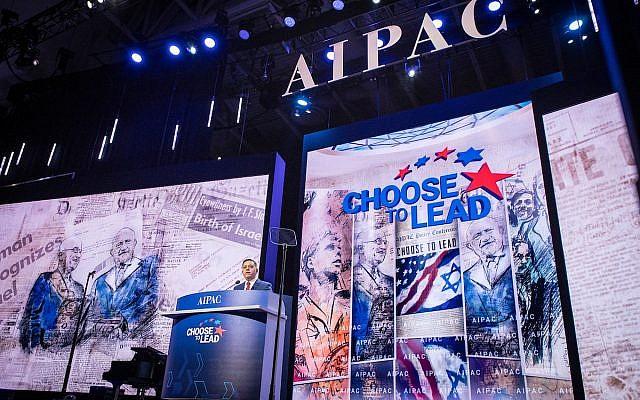 Le dirigeant du parti de l'Union sioniste Avi Gabbay s'adresse au lobby pro-israélien américain AIPAC lors de sa conférence politique à Washington DC, le 4 mars 2018. (John Bowel)