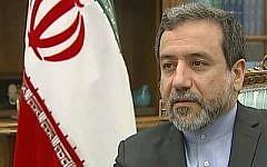 Le négociateur nucléaire iranien et vice-ministre des Affaires étrangères Abbas Araghchi. (Capture d'écran YouTube/Channel 4 News)
