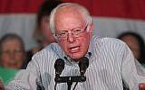 Le sénateur démocrate du Vermont  Bernie Sanders s'adresse à une foule de partisans lors d'un rassemblement pour l'unité démocrate au Rail Event Center le 21 avril 2017, à Salt Lake City, Utah. (George Frey/Getty Images via JTA)