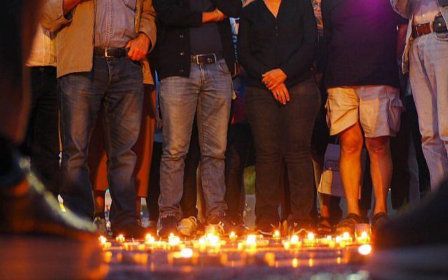 Rassemblement en mémoire de Mireille Knoll place Rabin à Tel Aviv le 28 mars 2018 (Crédit: Pierre-Simon Assouline)