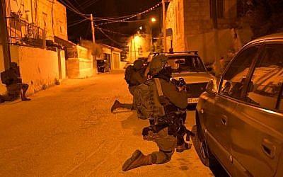 Les forces israéliennes opérant à Naplouse dans une photo publiée par Tsahal le 18 mars 2018. (Porte-parole de Tsahal)