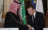 Le président français Emmanuel Macron serre la main du prince héritier saoudien Mohammed ben Salman à l'issue d'une conférence de presse conjointe à l'Elysée, à Paris, le 10 avril 2018 (AFP PHOTO / POOL / YOAN VALAT)