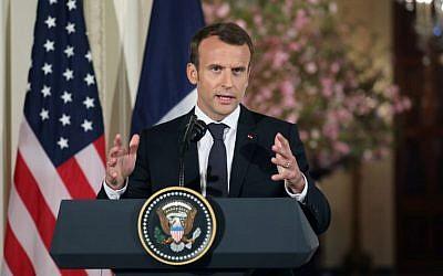 Le président français Emmanuel Macron lors d'une conférence de presse conjointe avec le président américain Donald Trump à la Maison Blanche, à Washington, le 24 avril 2018 (Crédit :  / AFP PHOTO / LUDOVIC MARIN)