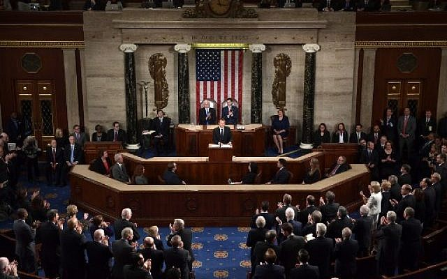 Le président français à la Chambre des Représentants, au Capitole, à Washington Dc, le 25 avril 2018. (Crédit : AFP  / Brendan Smialowski)