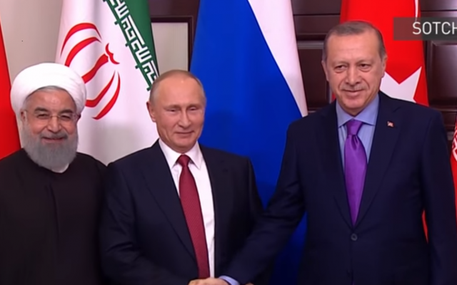 Recep Tayyip Erdogan, Vladimir Poutine et Hassan Rohani à Sotchi, en Russie Capture d'écran : YouTube)