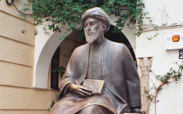 Statue de Maïmonide dans l'ancienne Juderia de Cordoue. (Crédit : CC BY-SA 3.0