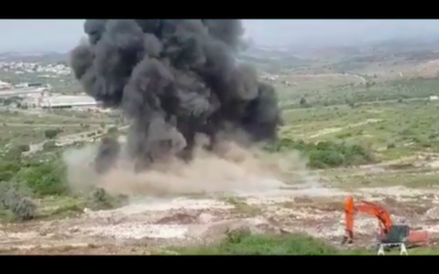 L'explosion d'un champ de mines près de l'implantation de Karnei Shomron, en Cisjordanie, le 3 avril 2018 (Crédit : YouTube)