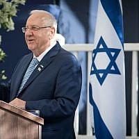 Le Président Reuven Rivlin s'exprime lors d'une réception pour les diplomates en Israël à l'occasion du 69e anniversaire de l'indépendance du pays, à la Résidence du Président à Jérusalem, le 2 mai 2017. (Yonatan Sindel/Flash90/File)