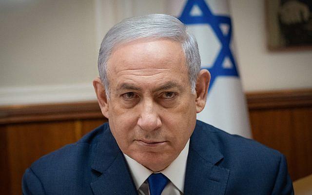 Le Premier ministre Benjamin Netanyahu à la réunion hebdomadaire du cabinet à Jérusalem, le 11 avril 2018 (Crédit : Yoav Ari Dudkevitch / Flash90)