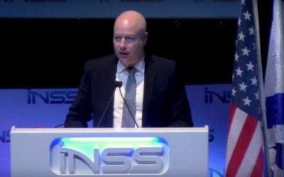 Jason Greenblatt, envoyé de l'administration Trump, prend la parole à la conférence de l'INSS, le 30 janvier 2018 (Capture d'écran INSS).