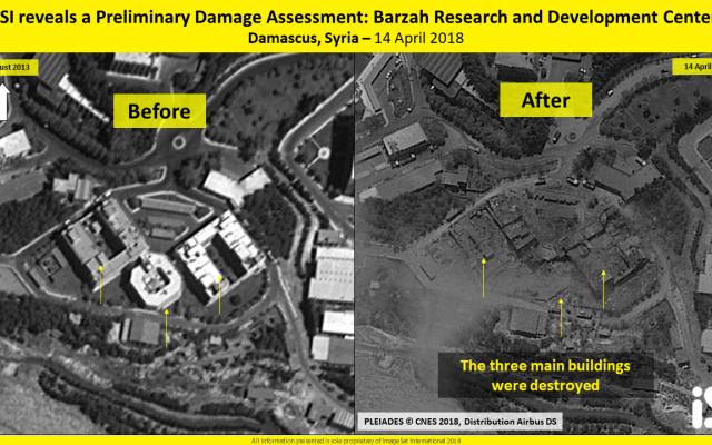 Une image satellite montre trois bâtiments de l'installation de recherche de Barzeh près de Damas, en Syrie, prétendument utilisés pour développer des armes chimiques, debout en 2013 (G) et détruits après une frappe des États-Unis, de la Grande-Bretagne et de la France le 14 avril 2018. (ImageSat International)