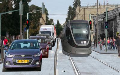 Un aperçu de ce à quoi pourrait ressembler la rue Emek Refaim dans le quartier de la colonie allemande de Jérusalem avec le tramway qui la traverse. (Autorisation de Refaim BaMoshavot)