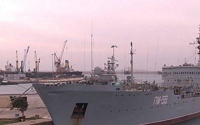Un navire russe dans le port syrien de Tartous (Capture d'écran YouTube)